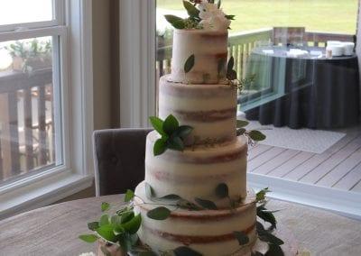 Naked 4 Tier Wedding Cake with Hydranga and Greenery | 3 Sweet Girls Cakery
