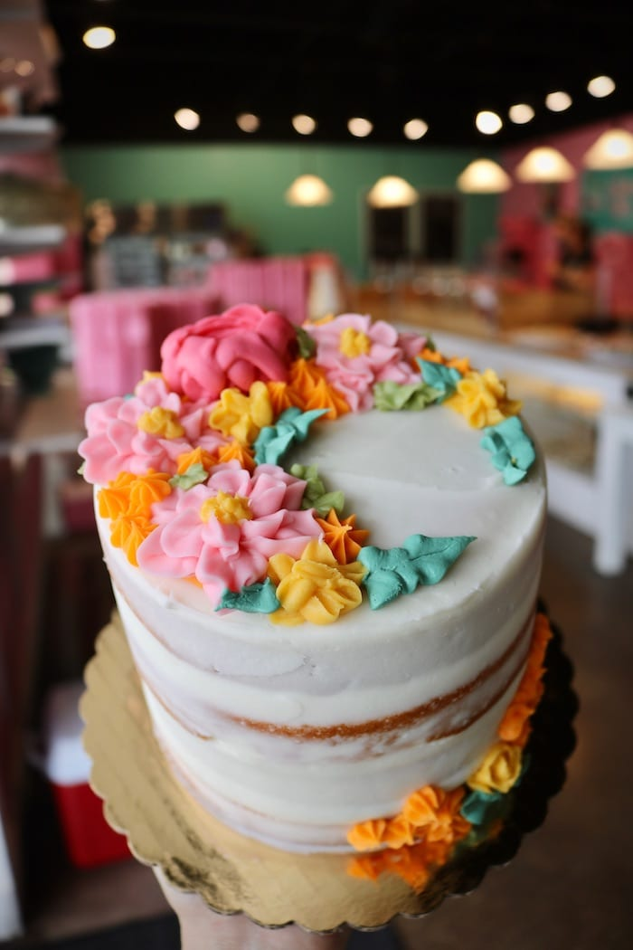 Naked Cake with Bright Florals   3 Sweet Girls Cakery