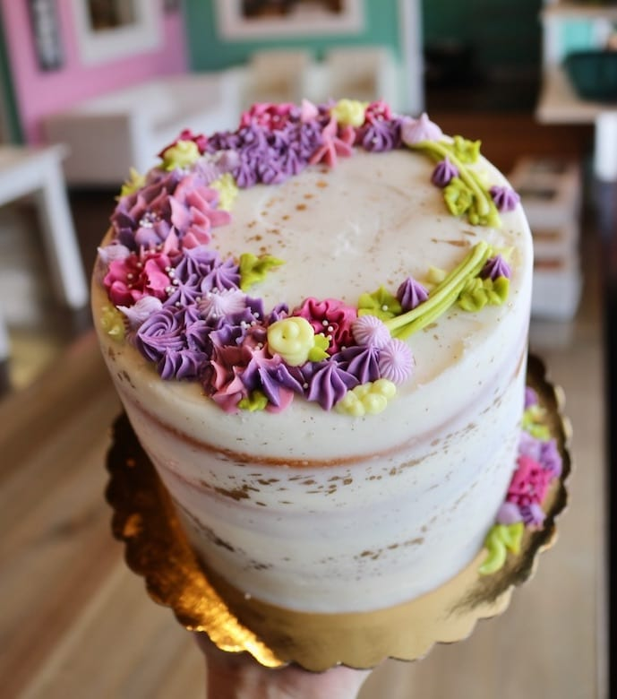 Colorful Buttercream Textured Cake with Flowers | 3 Sweet Girls Cakery