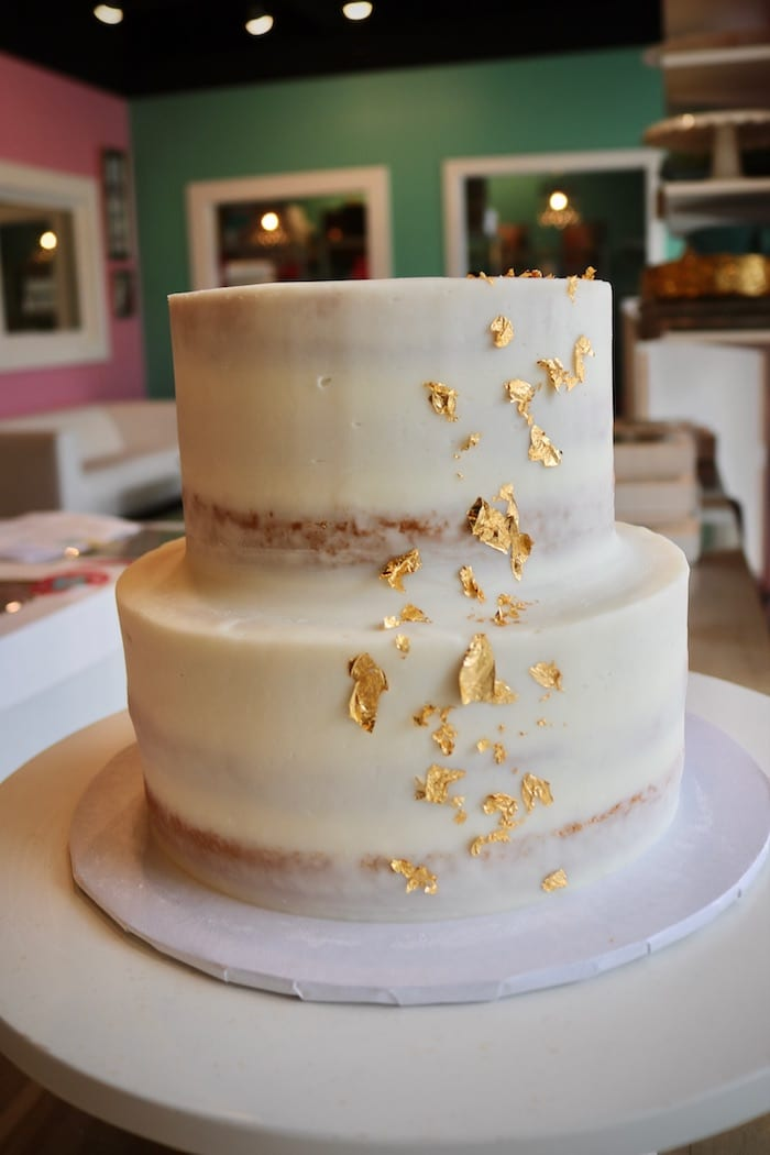 Naked Cake with Gold Foil | 3 Sweet Girls Cakery