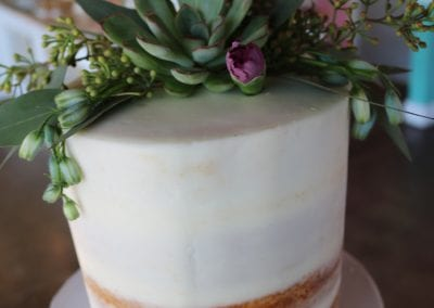 Naked Cake with Succulants and Greenery | 3 Sweet Girls Cakery