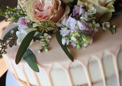 Naked Drip Cake with Fresh Flowers | 3 Sweet Girls Cakery