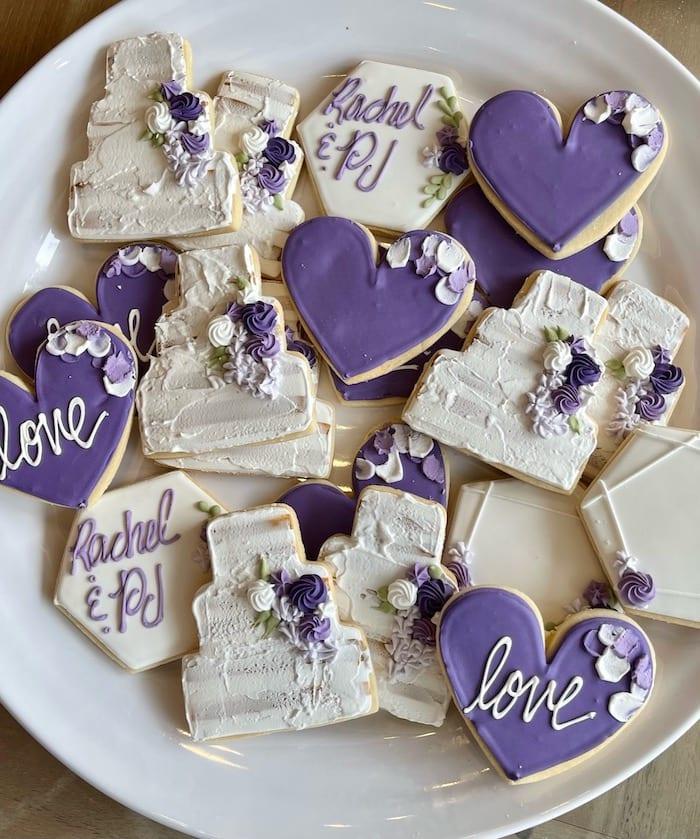 Naked Wedding Cake Cookies Purple and White | 3 Sweet Girls Cakery