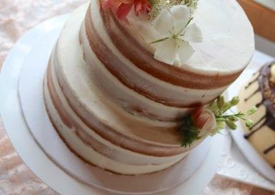 Naked Wedding Cake with Peach Flowers | 3 Sweet Girls Cakery