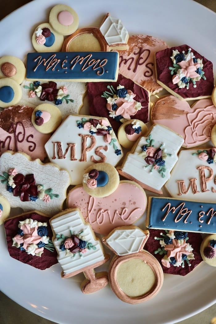 Navy, Blush and Rose Gold Wedding Cookies | 3 Sweet Girls Cakery