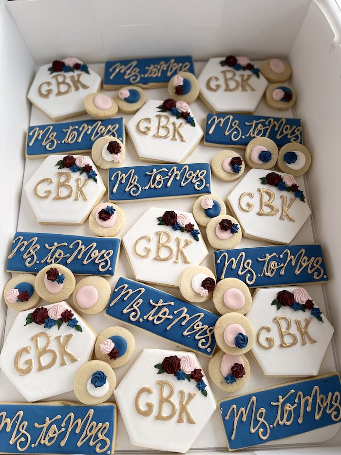 Navy, Gold and Blush Ms to Mrs Cookies   3 Sweet Girls Cakery
