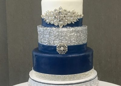 Navy and Silver Wedding Cake with Bling | 3 Sweet Girls Cakery