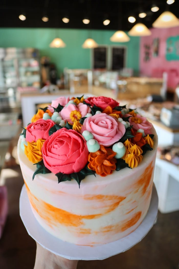 Orange and Pink Watercolor Floral Cake   3 Sweet Girls Cakery