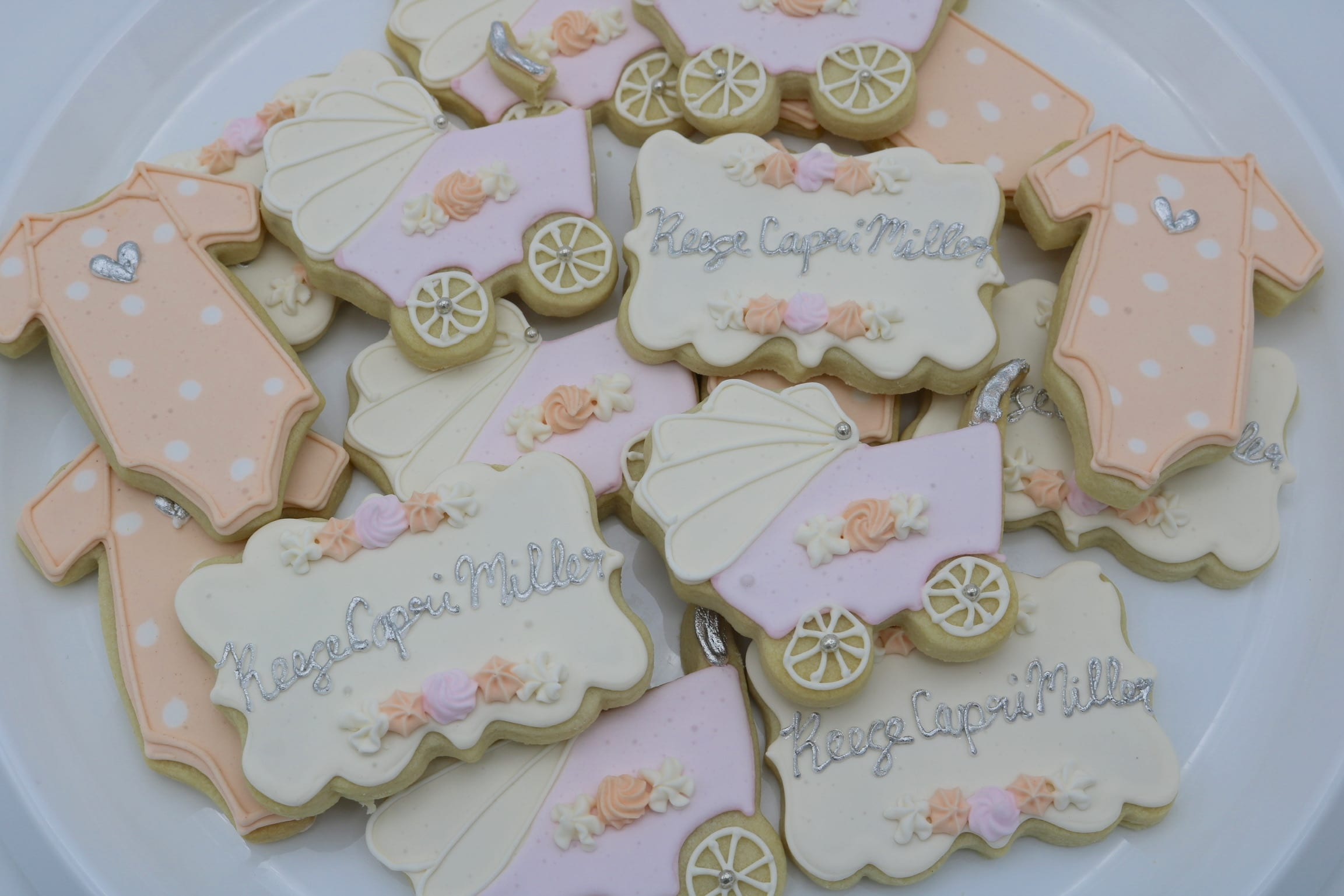Pastel Blush and Peach Baby Cookies | 3 Sweet Girls Cakery