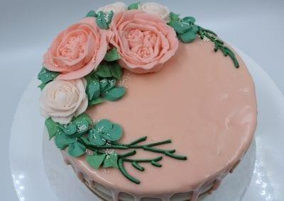 Peach Buttercream Flower Cake | 3 Sweet Girls Cakery