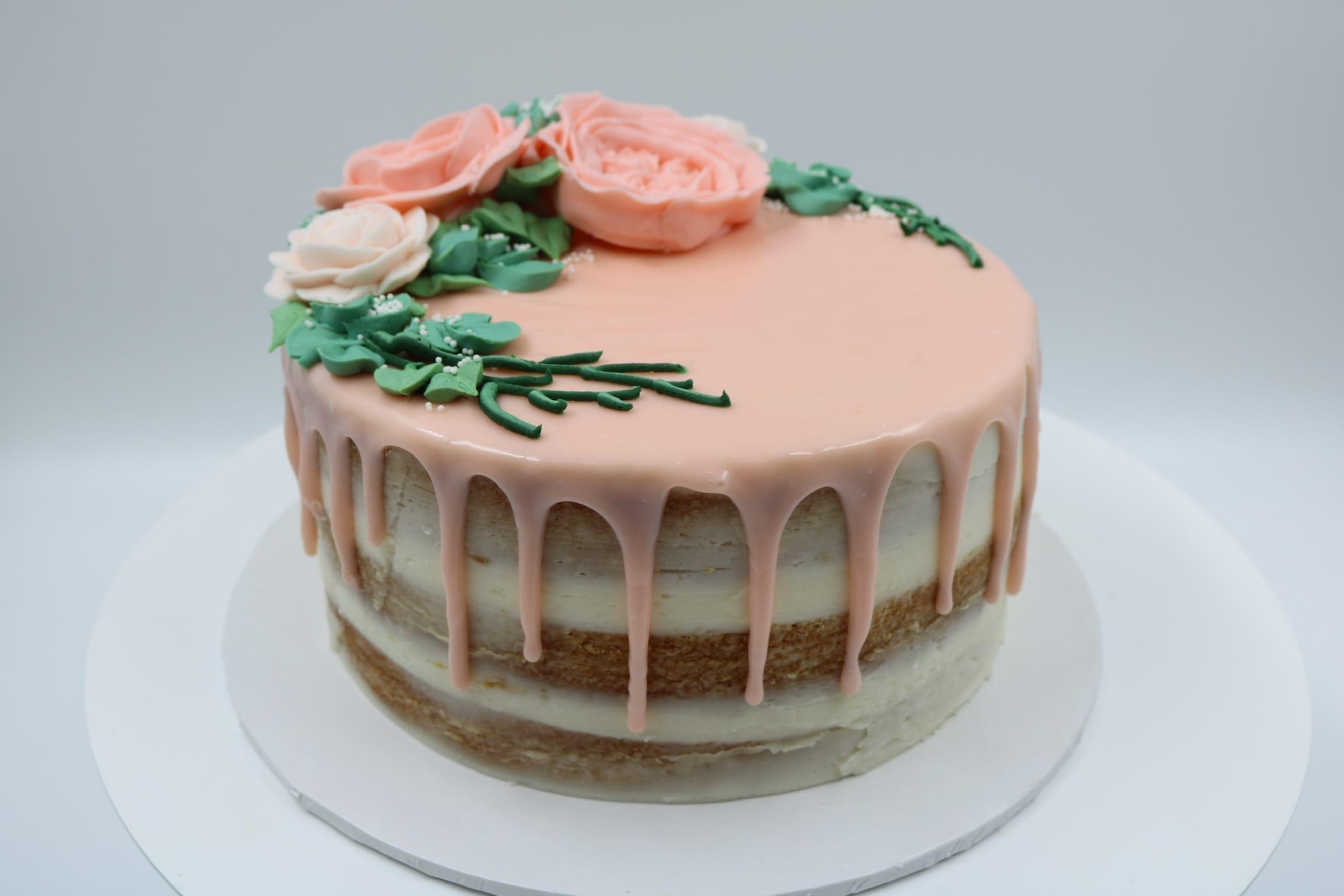 Peach Naked Buttercream Flower Cake | 3 Sweet Girls Cakery