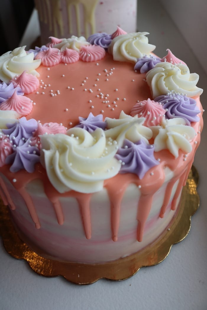 Peach and Coral Floral Drip Cake | 3 Sweet Girls Cakery