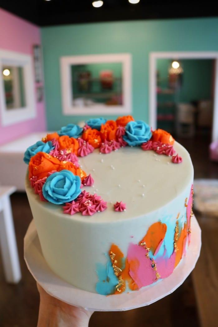 Pink, Blue and Orange Floral Cake | 3 Sweet Girls Cakery