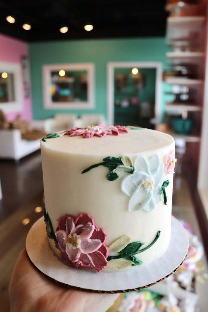 Pink, Blue and White Mini Floral Cake | 3 Sweet Girls Cakery