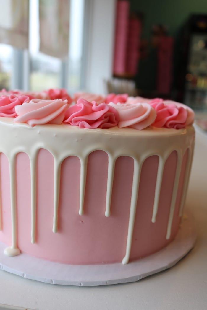 Pink Drip Rosette Cake | 3 Sweet Girls Cakery