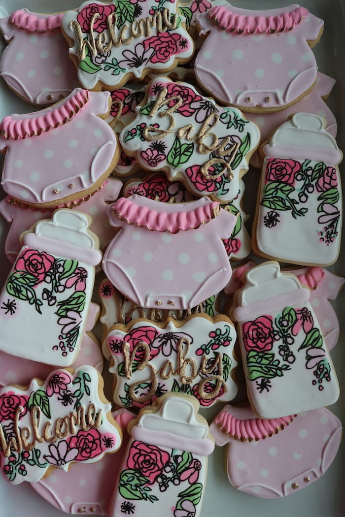 Pink Floral Baby Shower Cookies with Gold Accents | 3 Sweet Girls Cakery