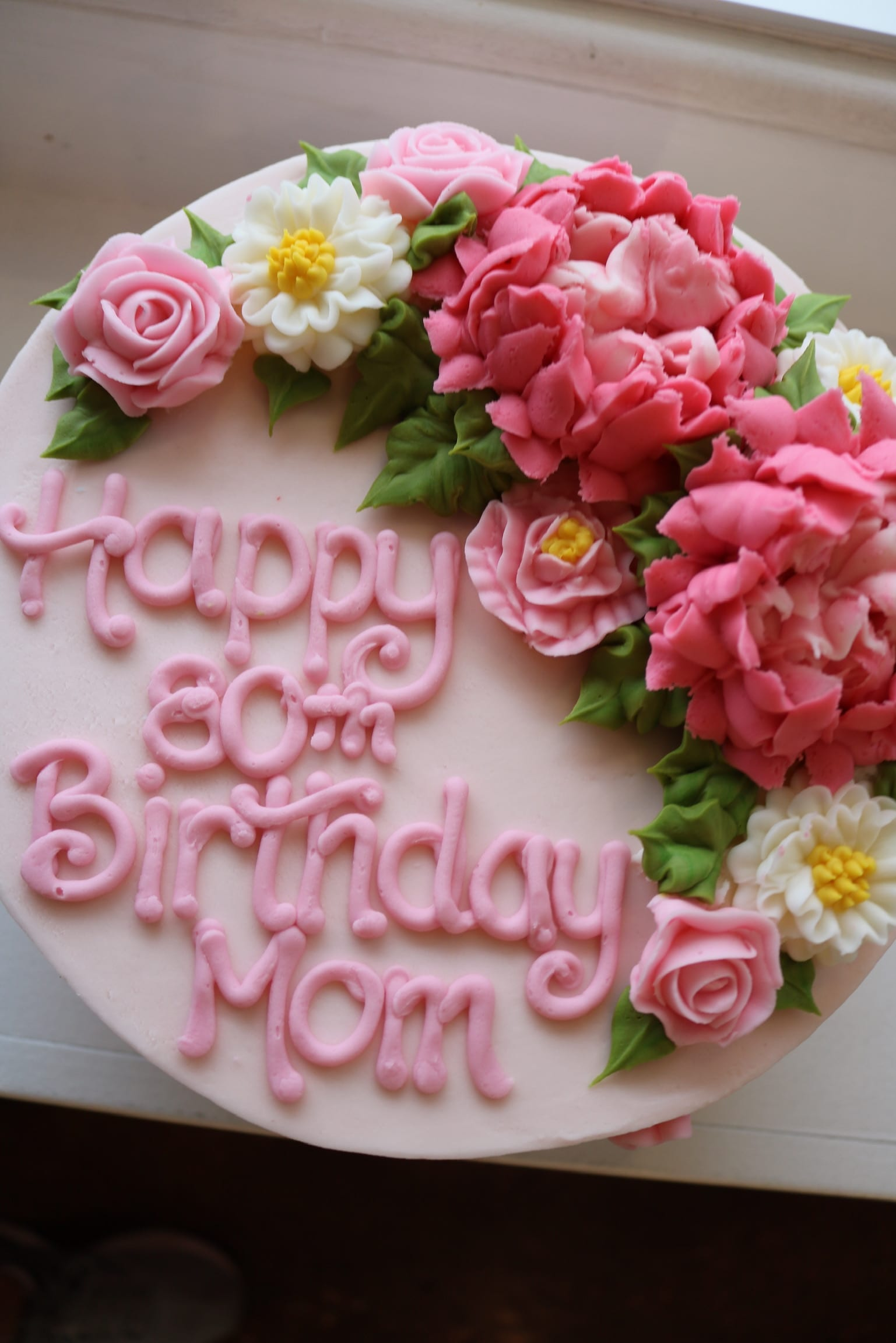 Pink Floral Birthday Cake for Mom | 3 Sweet Girls Cakery