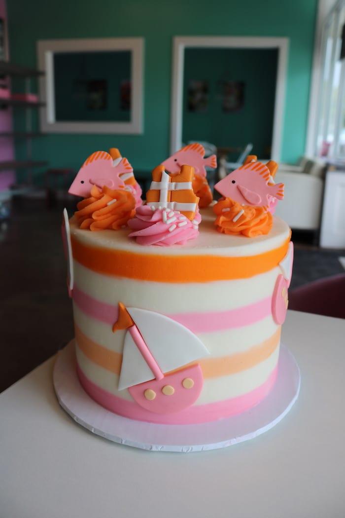 Pink, Orange and White Nautical Birthday Cake | 3 Sweet Girls Cakery