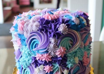 Pink, Purple and Blue Mixed Rosette Cake | 3 Sweet Girls Cakery