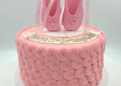 Pink Rosette Ballerina Cake | 3 Sweet Girls Cakery