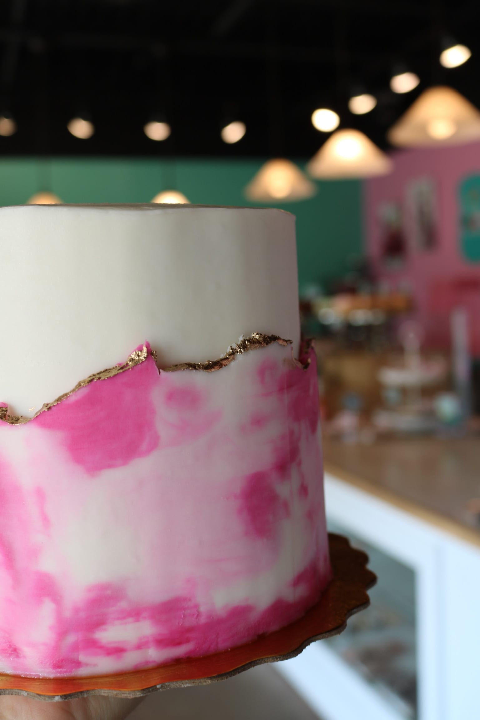 Pink Watercolor Fault Line Cake | 3 Sweet Girls Cakery