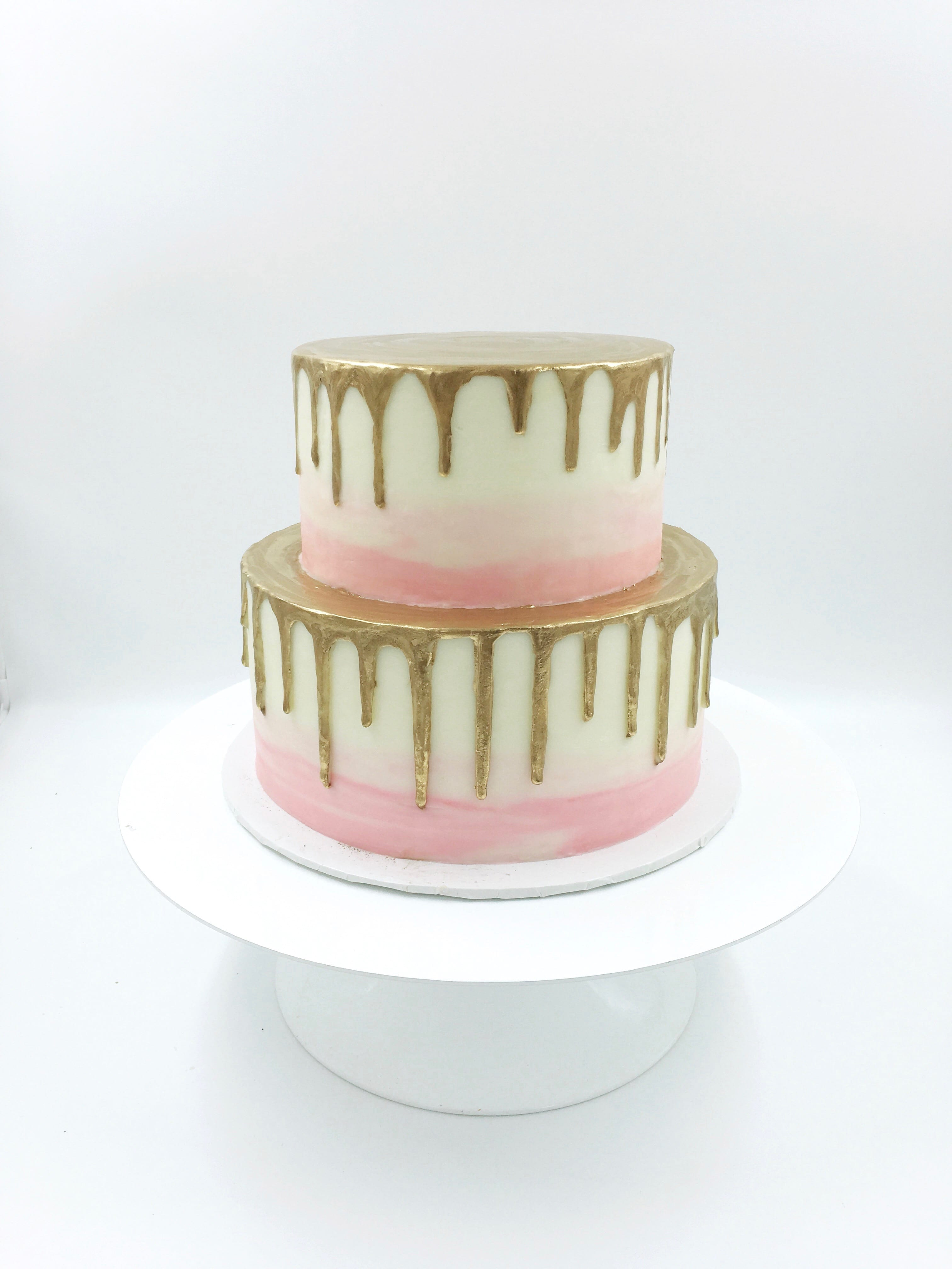 Pink, White and Gold 2 Tier Drip Cake | 3 Sweet Girls Cakery