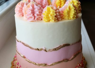 Pink, Yellow and Gold Fault Line Cake | 3 Sweet Girls Cakery