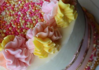 Pink, Yellow and Gold Strawberry Lemonaide Fault Line Cake | 3 Sweet Girls Cakery