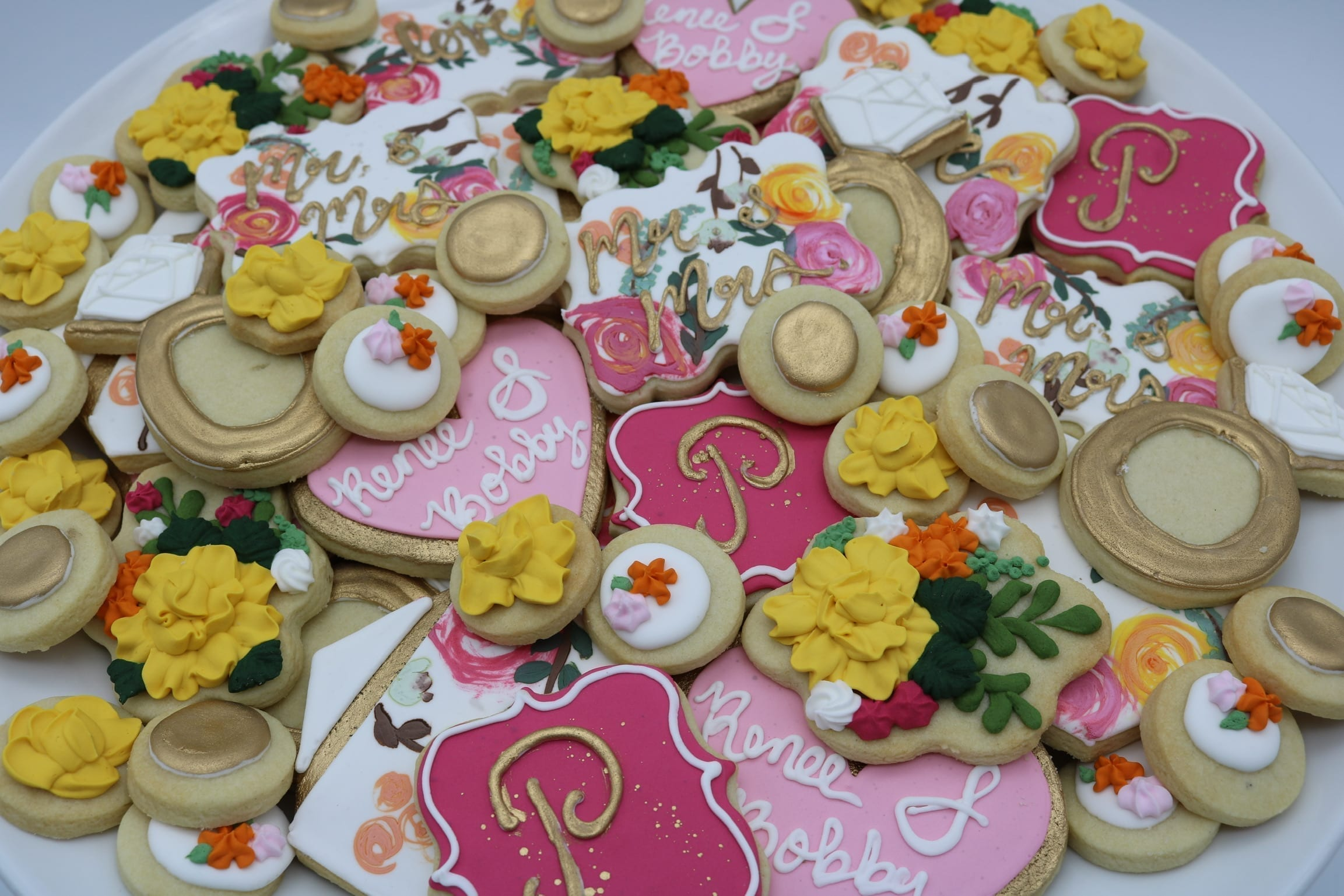 Pink, Yellow and Gold Wedding Shower Cookies   3 Sweet Girls Cakery