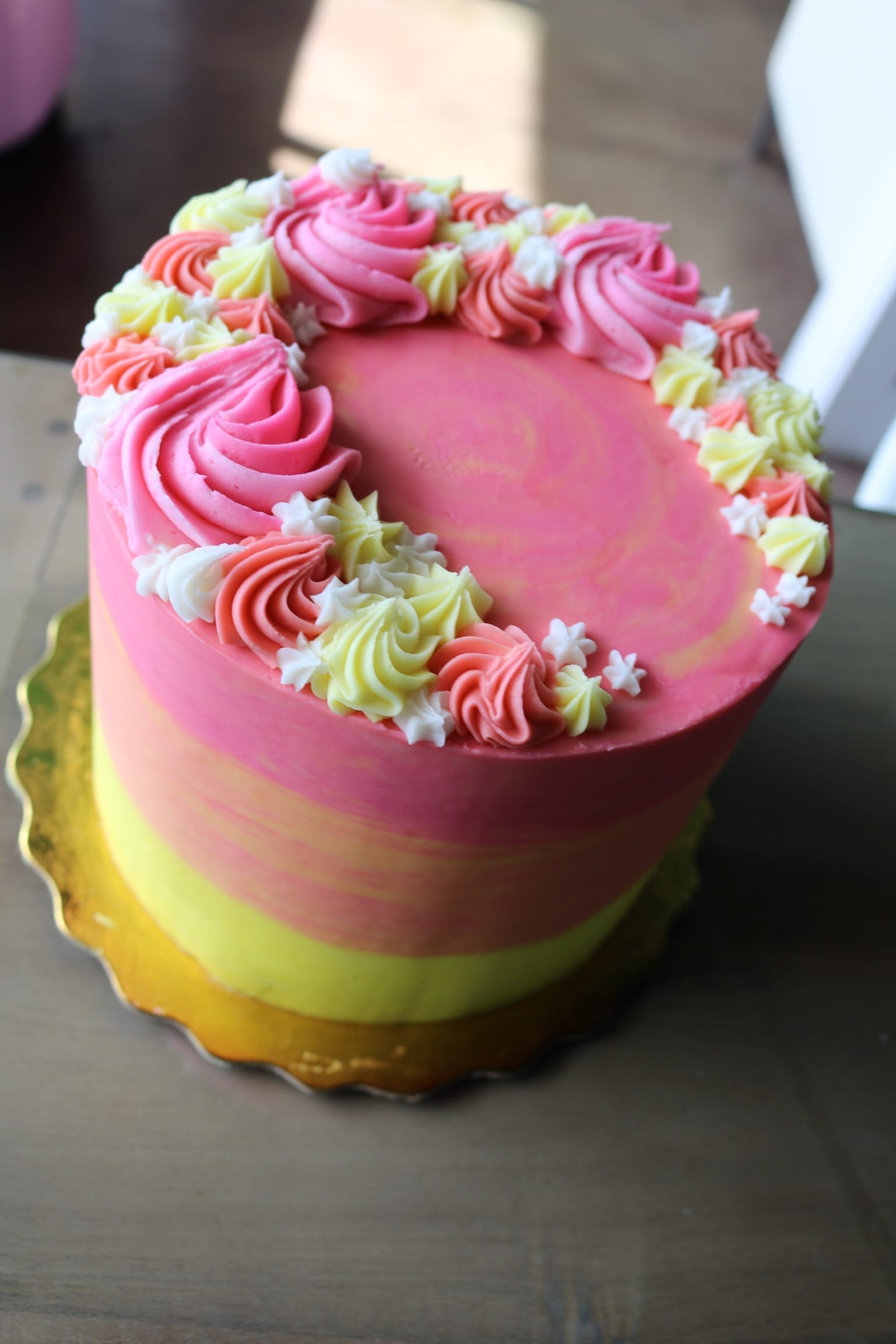 Pink, Yellow and Orange cake with Rosettes | 3 Sweet Girls Cakery