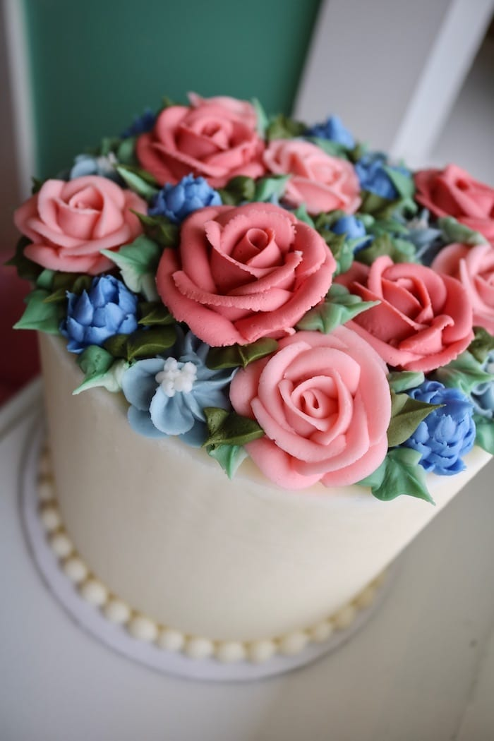 Pink and Blue Floral Rose Cake | 3 Sweet Girls Cakery