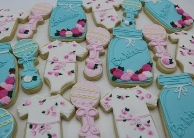Pink and Blue Floral Vintage Baby Cookies | 3 Sweet Girls Cakery