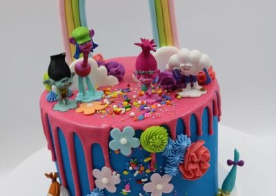 Pink and Blue Troll Rainbow Birthday Cake | 3 Sweet Girls Cakery