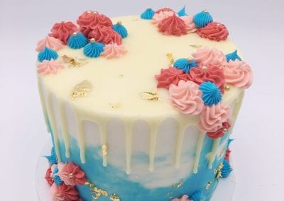 Pink and Blue Watercolor Cake with Flowers and Gold Foil | 3 Sweet Girls Cakery
