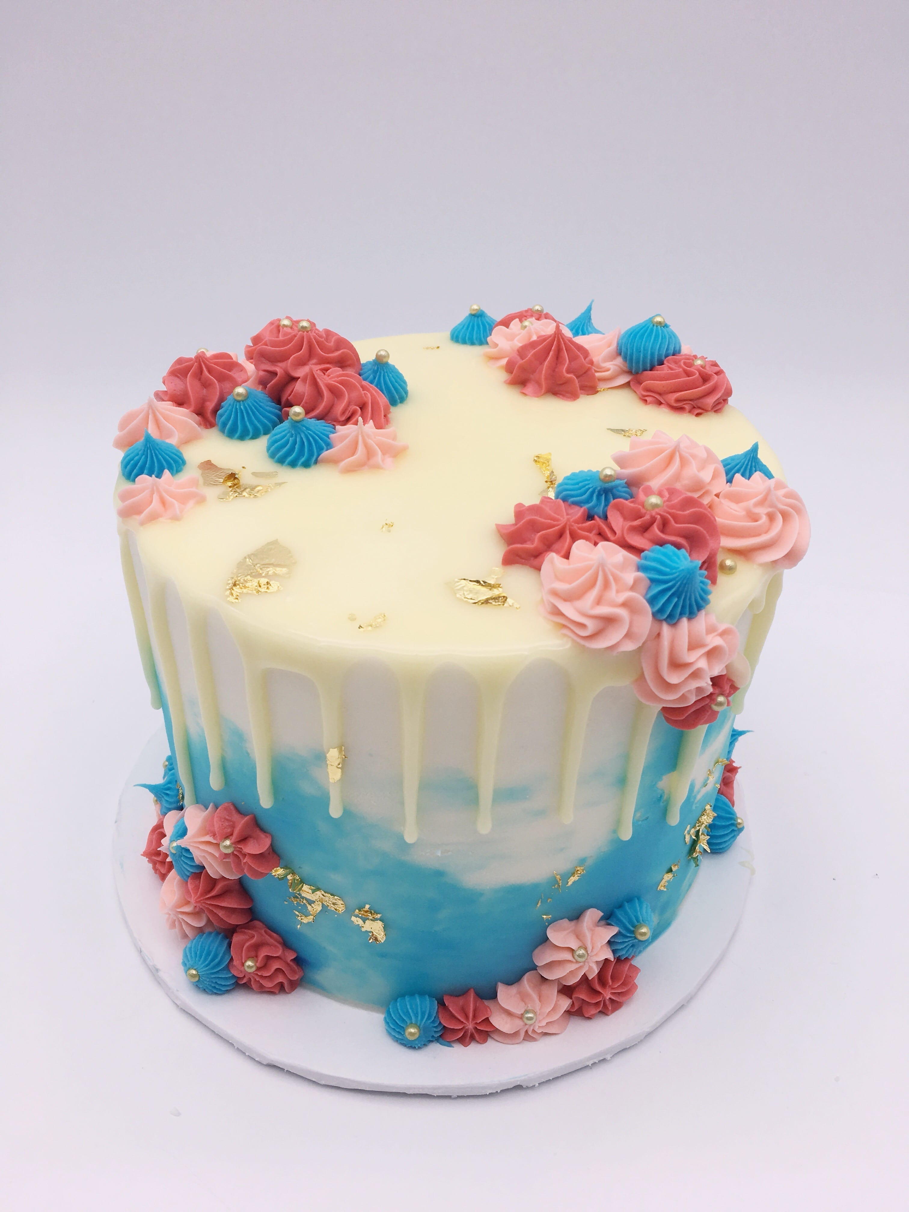 Pink and Blue Watercolor Cake with Flowers and Gold Foil   3 Sweet Girls Cakery
