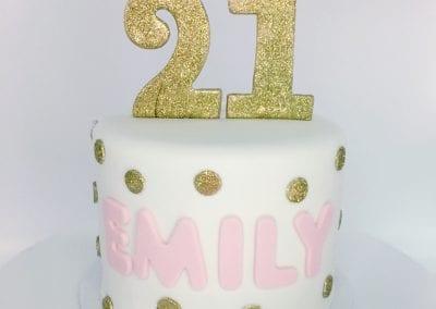 Pink and Gold Polka Dot 21st Birthday Cake | 3 Sweet Girls Cakery