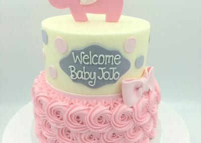 Pink and Gray 2 Tier Elephant Baby SHower Cake