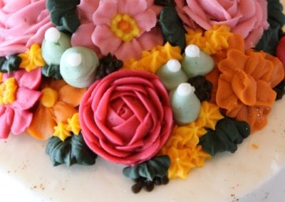 Pink and Orange Buttercream Floral Cake with Gold Splatter | 3 Sweet Girls Cakery