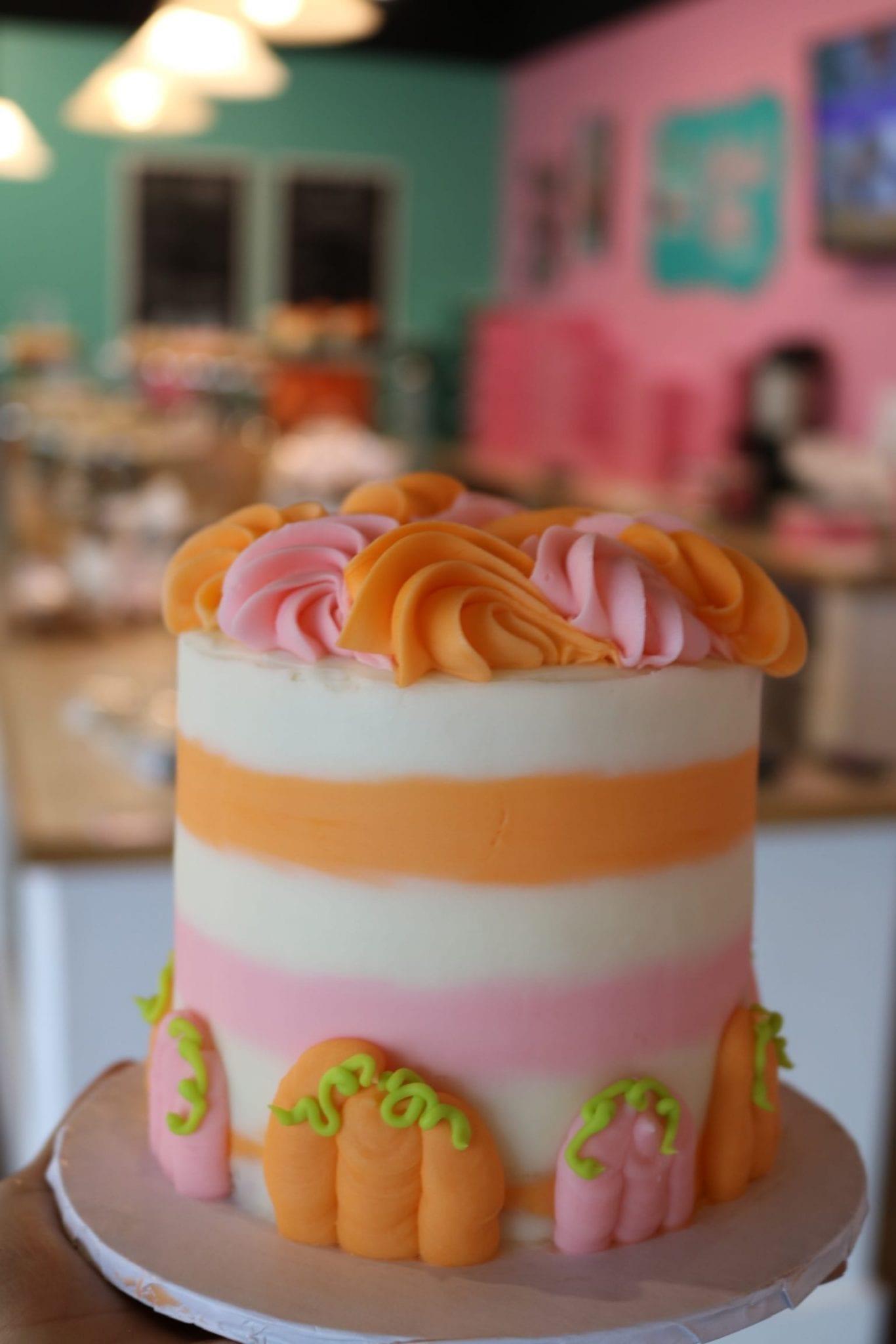 Pink and Orange Pumpkin Smash Cake   3 Sweet Girls Cakery