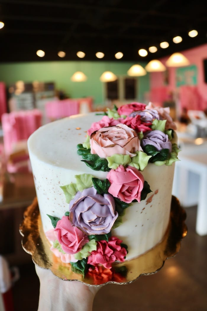 Pink and Purple Floral Buttercream Cake   3 Sweet Girls Cakery