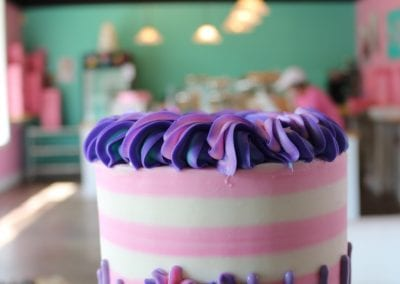 Pink and Purple Striped Cake | 3 Sweet Girls Cakery