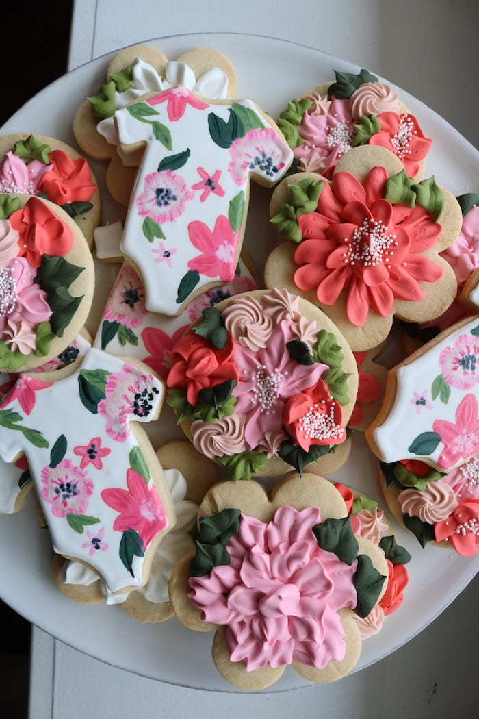 Pink and Red Floral Baby Shower Cookies | 3 Sweet Girls Cakery