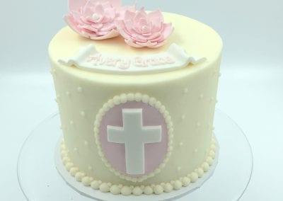 Pink and White Baptism Cake | 3 Sweet Girls Cakery