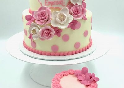 Pink and White 2 Tier Flower Cake with Smash Cake | 3 Sweet Girls Cakery