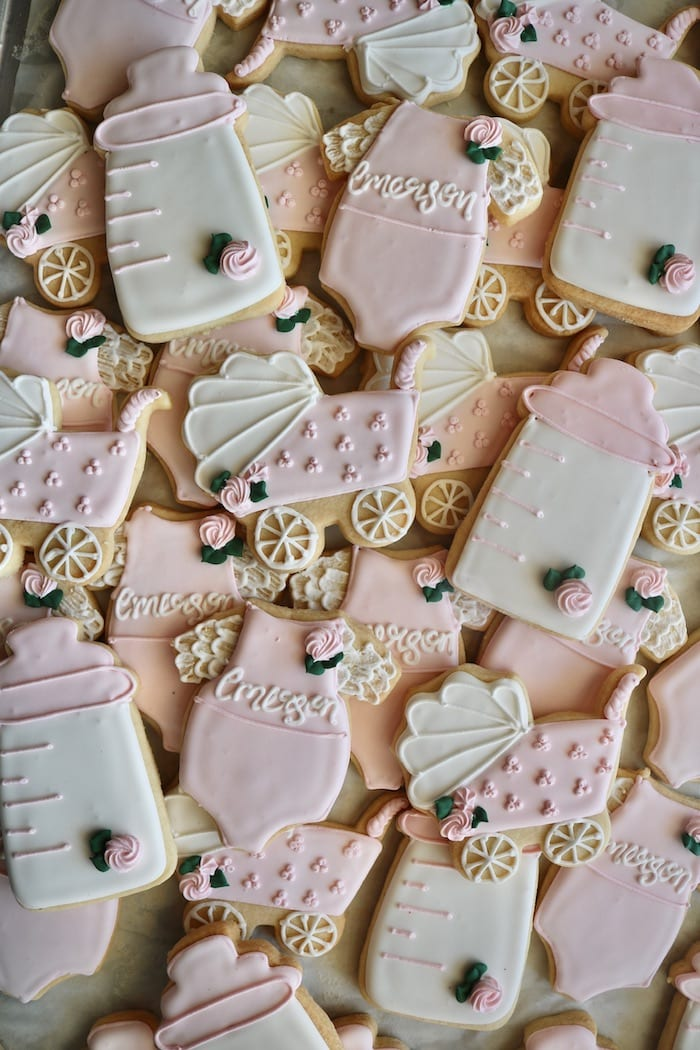 Pink and White Baby SHower Cookies | 3 Sweet Girls Cakery