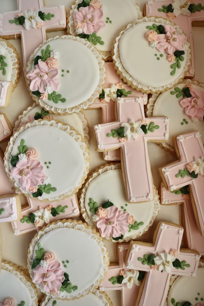 Pink and White Baptism or Christening Cookies   3 Sweet Girls Cakery