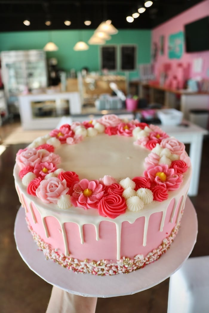 Pink and White Floral Drip Cake | 3 Sweet Girls Cakery