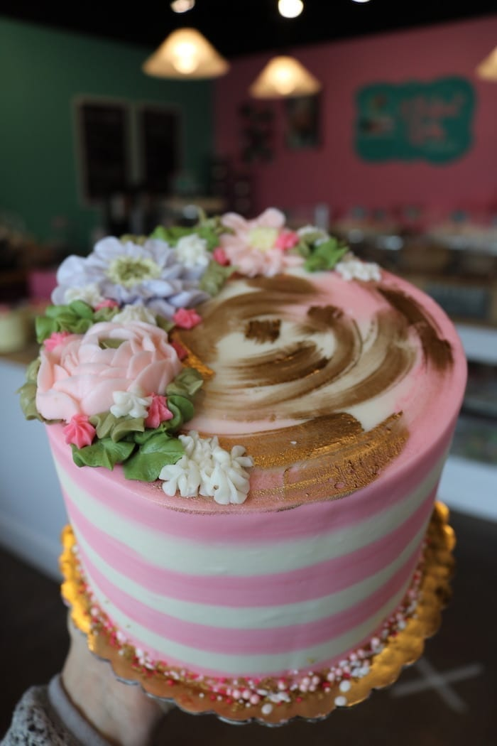 Pink and White Striped Floral Cake with Gold Accents | 3 Sweet Girls Cakery