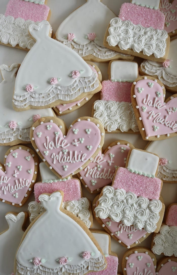 Pink and White Wedding SHower Cookies   3 Sweet Girls Cakery