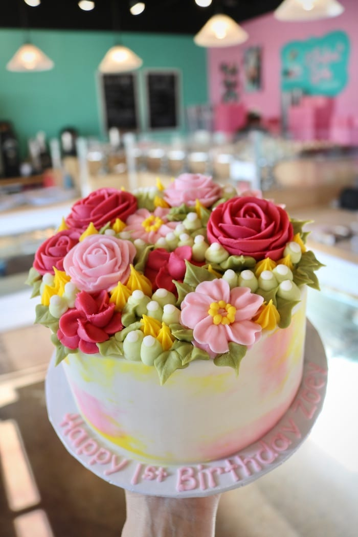 Pink and Yellow Watercolor Floral Cake | 3 Sweet Girls cakery
